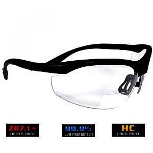 Bifocal Safety Glasses - Reading Cheaters Clear Protective Eyewear